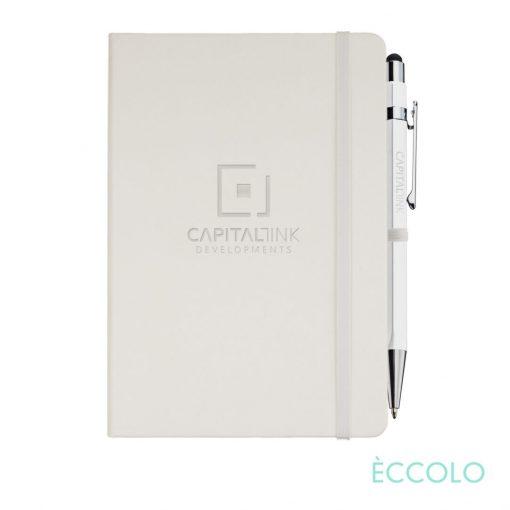 Eccolo® Cool Journal/Atlas Pen/Stylus Pen - (M) White
