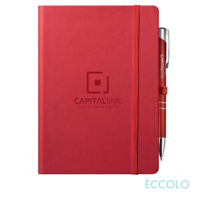 Eccolo® Cool Journal/Clicker Pen - (L) Red