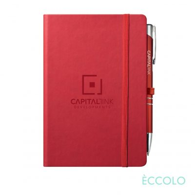Eccolo® Cool Journal/Clicker Pen - (M) Red