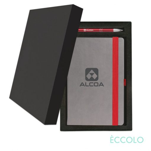 Eccolo® Salsa Journal/Clicker Pen Gift Set - (M) Red