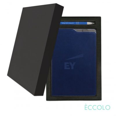 Eccolo® Soca Journal/Clicker Pen Gift Set - (M) Navy Blue